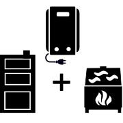 Ogrzewanie kocioł elektryczny + kominek UO + kocioł węglowy UO