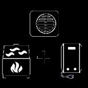 Ogrzewanie kocioł elektryczny + kominek UO + pompa Monoblok