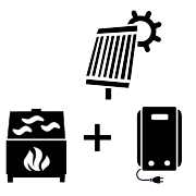 Ogrzewanie kocioł elektryczny + kominek UO + solar