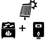 Ogrzewanie kocioł gazowy + kominek UO + solar