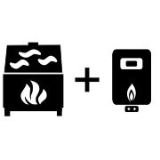 Ogrzewanie kominek UZ + kocioł gazowy