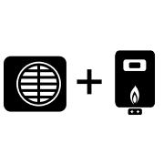 Ogrzewanie kocioł gazowy + pompa Monoblok