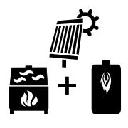 Ogrzewanie kocioł olejowy + solar + kominek UO