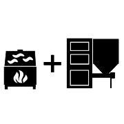 Ogrzewanie kominek UZ + kocioł na pellet/ekogroszek UZ