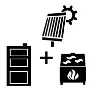 Ogrzewanie kominek UZ + kocioł węglowy UO + solar