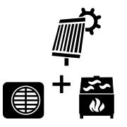 Ogrzewanie kominek UZ + pompa Monoblok + solar
